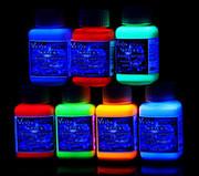 Краски светящиеся флуоресцентные.Набор 7 цветов по 100 мл.