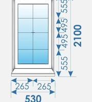 Окно Пвх 530х2100 дешево профиль Kbe 70